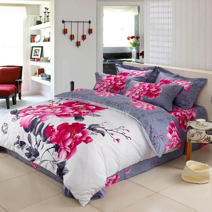 white red and grey peony flower print chinese inspired oriental style full queen size bedding sets