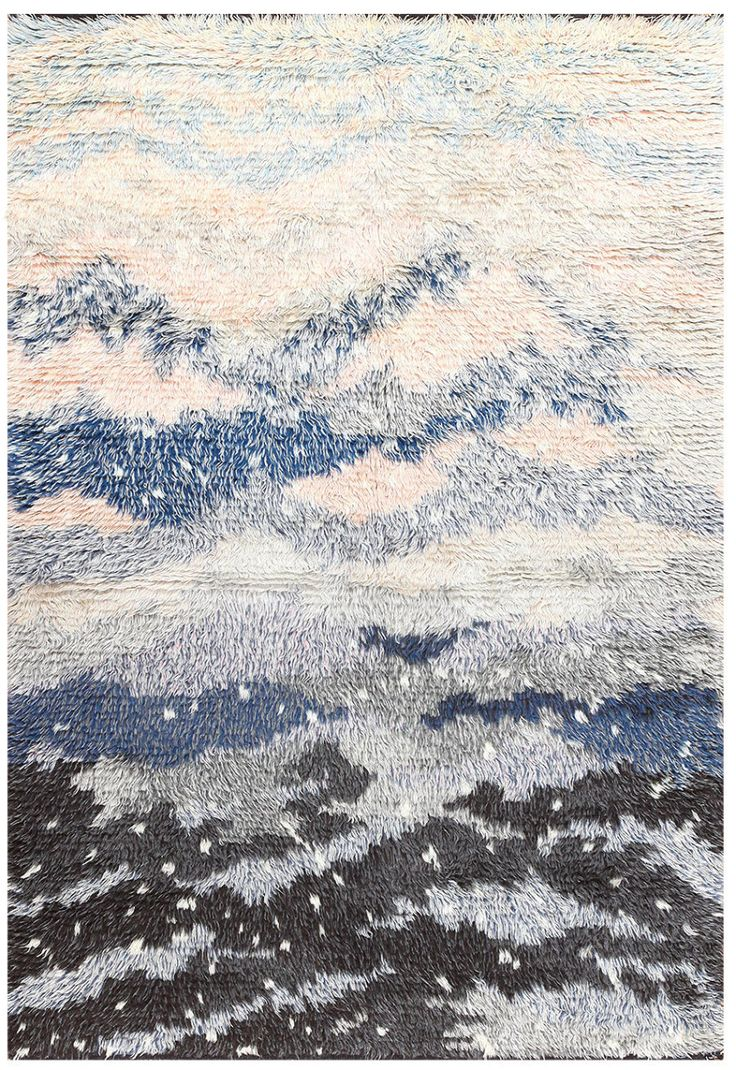 Rya Rug by Rut Beskow, Sweden, mid-20th century | Lighter shades of gray stand out against a dark night sky, the hues giving way to a brighter white below, signifying banks of snow. Small instances of white dot the darker space, presenting the illusion of snowfall against a cold winter's night over