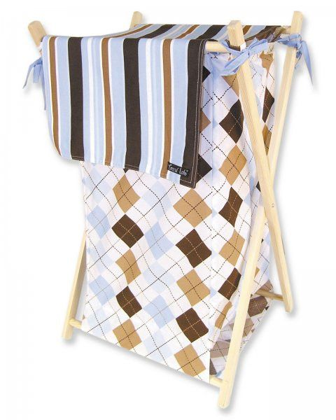"Prep School Blue Kids Hamper (Blue and Brown Argyle) (27""H x 15""W x 2""D)"