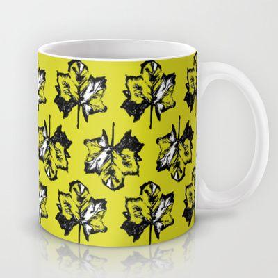 Green leaves Mug by Juliagrifol designs - $15.00 green #pattern #leaves #black #mug #society6 #kitchen