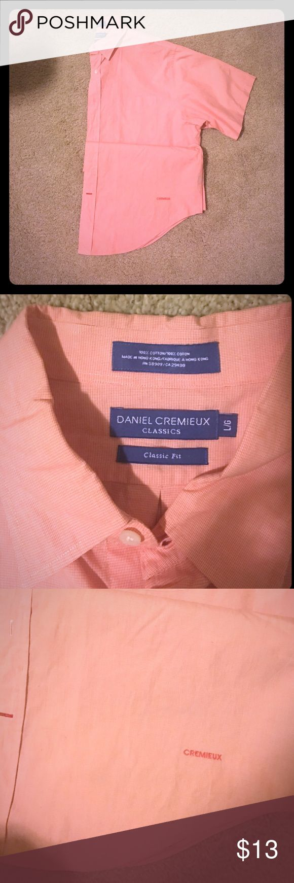 Daniel Cremieux Mens shirt Lovely orange and white plaid shirt , button down, short sleeve  Daniel cremieux Classic fit shirt Daniel Cremieux Shirts Casual Button Down Shirts