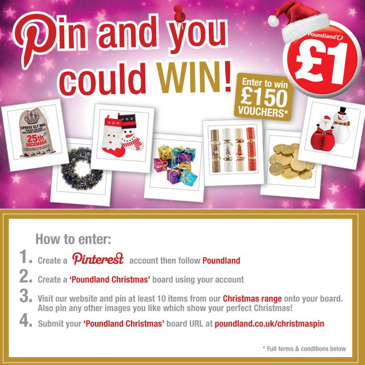 Do you want to win £150 Poundland vouchers? Show us your perfect Christmas on Pinterest and pin at least 10 items from our Christmas range!