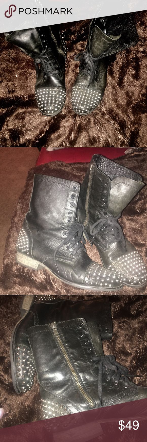 Studded combat boots Black studded combat boots very comfortable, stylish boots. These boots can be worn slouchy or laced up depending on the look you're going for or style preference. Size 8.5 (runs slightly big) Steve Madden Shoes Combat & Moto Boots