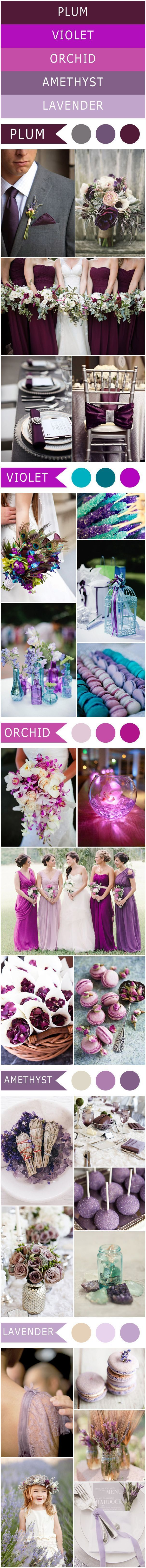 Different Shades of Purple Wedding Color Ideas-Plum, Violet, Orchid, Amethyst, Lavender
