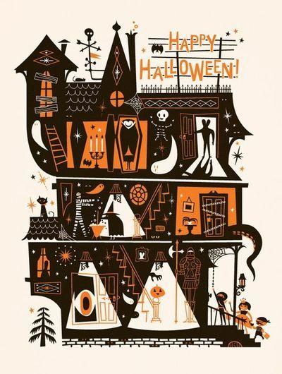 Retro Halloween 1960's paper decoration