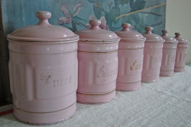 pink canisters kitchen ahhhh enamel things i 14554