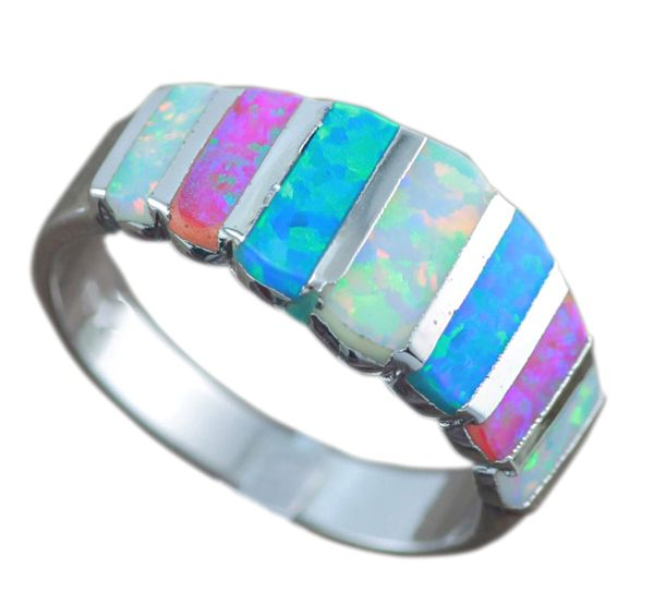 Free Gift Box Hot Sale Blue White Pink Fire Opal For Women Fashion Prong Setting Blue Opal Rings Size 6 7 8 9 OR837