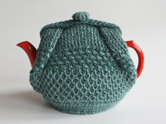 Thick wool tea cosy inTunisian crochet grey by KororaCrafters
