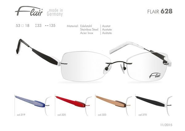 FLAIR Brillen made in Germany: Flair randlose Brillen Modell 628