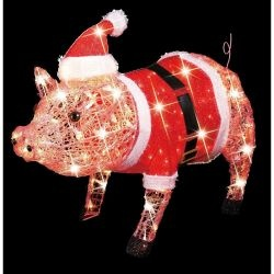 christmas lite up pig lawn decoration