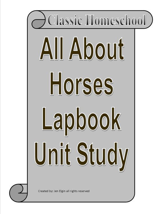 Horse Lapbook Unit Study for learning all about Horses  - Biology - Zoology - Multi-age range