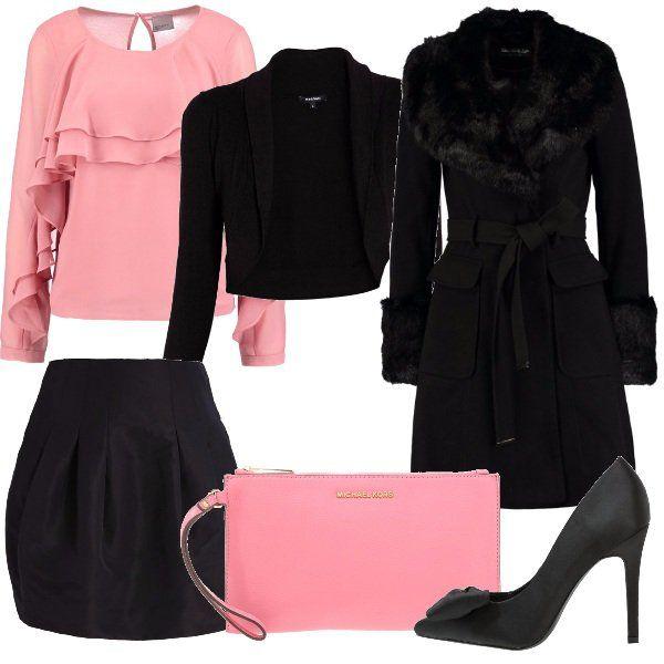 Per+questo+outfit:+camicetta+rosa+con+rouches+manica+lunga,+coprispalle+nero,+cappottino+nero+con+colletto+e+manicotti+fur,+gonna+a+palloncino+nero,+décolleté+nere+in+raso+con+fiocco+e+pochette+rosa+Michael+Kors.