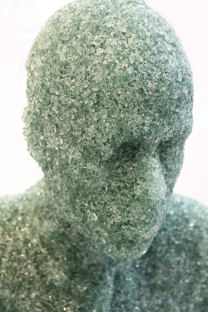 Cross-genre New York-based artist and set designer Daniel Arsham has expanded his eclectic scope of works with his latest sculptures made entirely from shattered glass. the pieces chiefly focus on depicting the human form - each one pensive, still and surreal an almost stoic quality