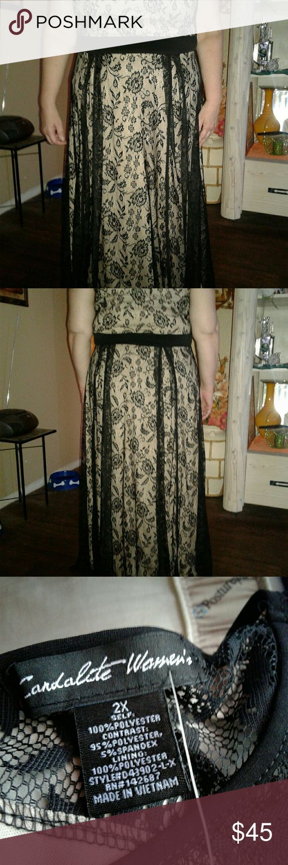 Beige/Black Lace Overlay SIZE 22 NWT Beautiful lite airy black lace sections for slimming  (My model is camera shy because she just had a baby boy 3 weeks ago... I say she looks beautiful...what do you poshers think) this dress is semi casual or dressy Dresses Maxi