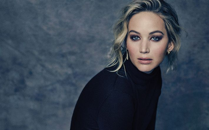 Download wallpapers Jennifer Lawrence, photoshoot, portrait, black sweater, face, make-up, american actress
