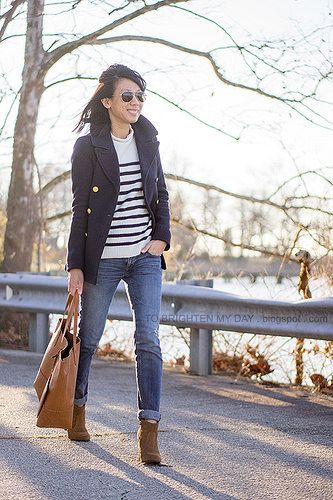navy peacoat, striped sweater, cognac brown tote, brown suede ankle boots