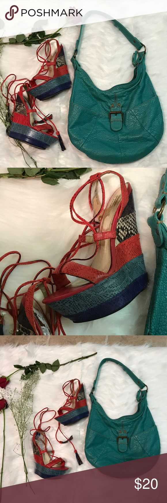 Shoes and bag This set is too cute. Beautiful bag paired with multi colored wedges size 6. Smoke free home great condition! Shoes Heels