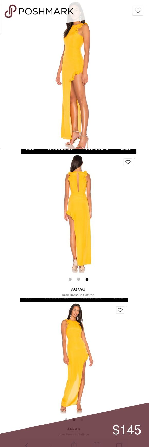 AQ/AQ Juan Dress in Saffron from Revolve Price listed on Revolves site is still at $176 (that is what I paid in October ). In perfect condition! Worn once for a wedding and is dry cleaned already. Gold color with one side being longer than the other. Size 2 .... I added a photo of me on here I'm a little over 5'1 hope this helps   If you have any questions please massage me AQ/AQ Dresses Asymmetrical