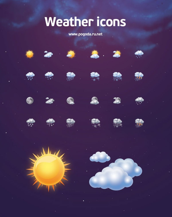 Weather icons by Tanya Boyko, via Behance