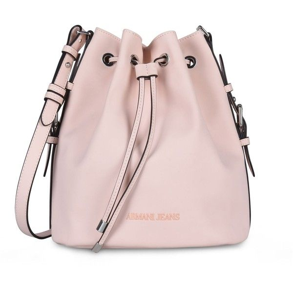 ARMANI COLLEZIONI Leather Bucket Bag With Shoulder Strap ($200) ❤ liked on Polyvore featuring bags, handbags, shoulder bags, accessories, bags and purses, light pink, armani jeans bags, light pink bag, pink bag and logo bags