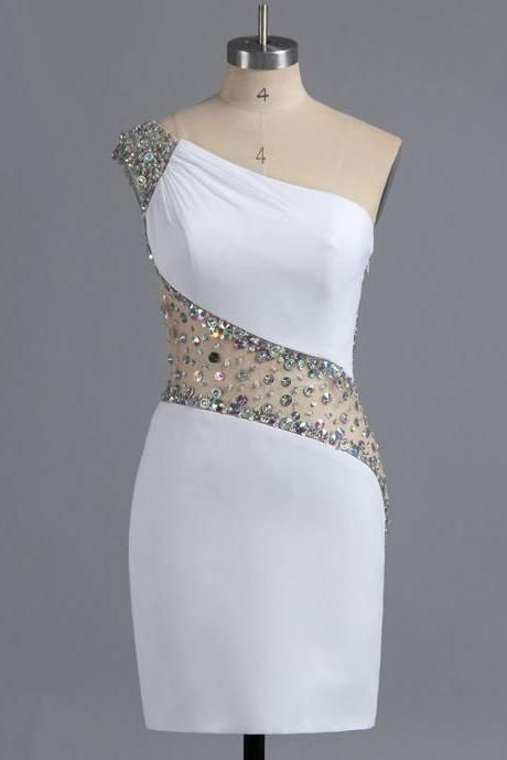 Sexy One Shoulder Bodycon Homecoming Dress, Asymmetric White Homecoming Dress with Beads and Sequins, Sparkling Chiffon Homecoming Dress, #02016008