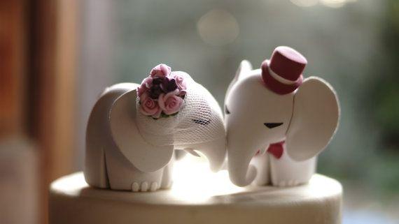 Elephant Wedding Cake Topper di TopThatCakeOff su Etsy