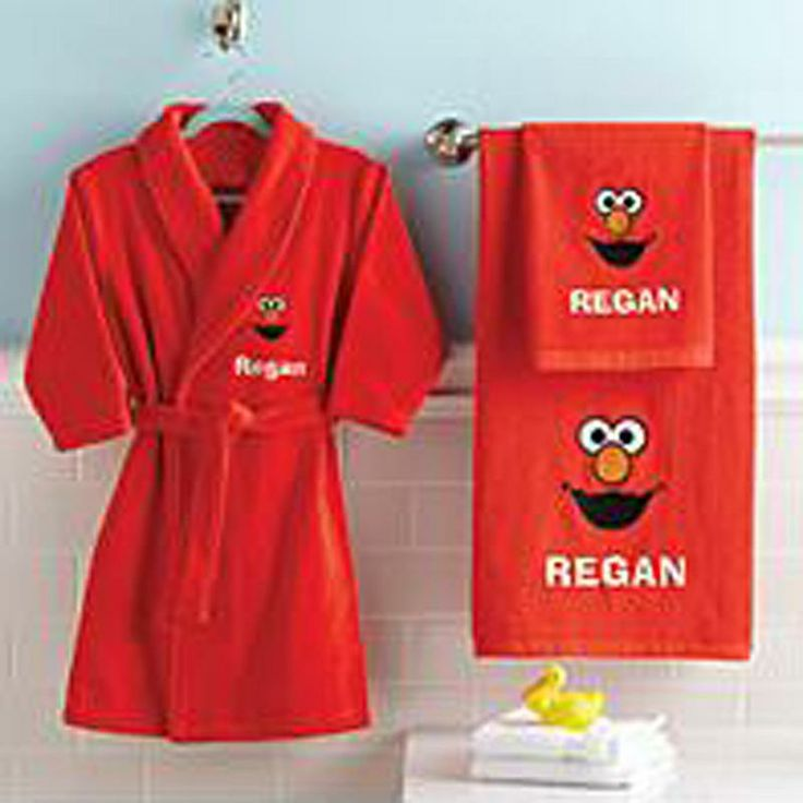 Elmo Hand Towel, Bath Towel And Robe -- for the distinguished toddler's daily bathroom routine.