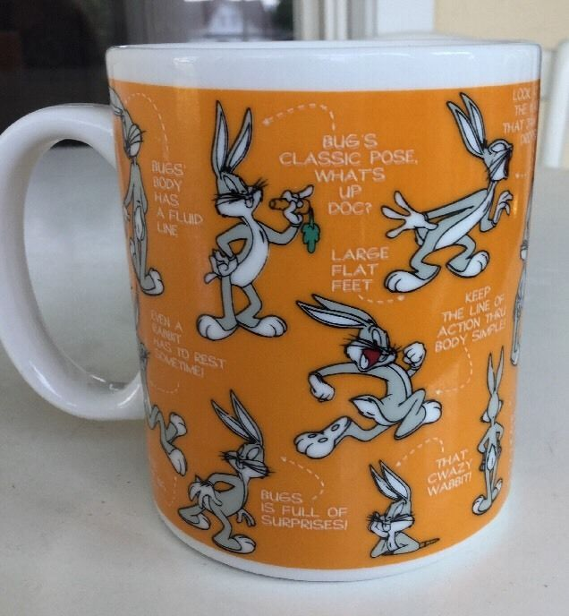 Bugs Bunny Warner Bros. Coffee Mug 1994 Orange Warner Bros Studio Store   | eBay