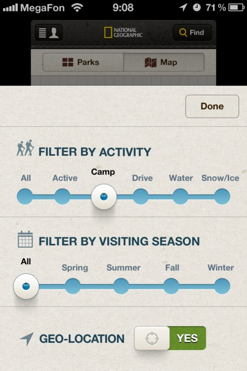 beautiful filtering solution - but the whole app is really pretty  NatGeo, National Parks