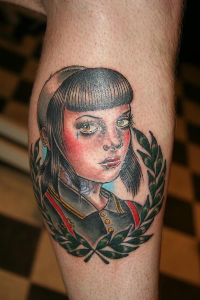Skinhead girl by emily wood black heart tattoo studio for Tattoos on old skin