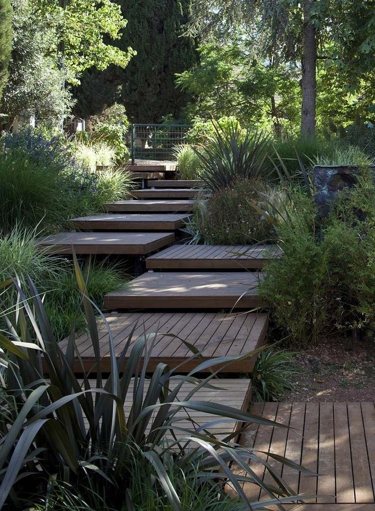 Boardwalk through garden