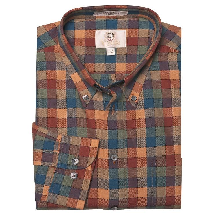 Viyella multi check sport shirt cotton wool long sleeve for men