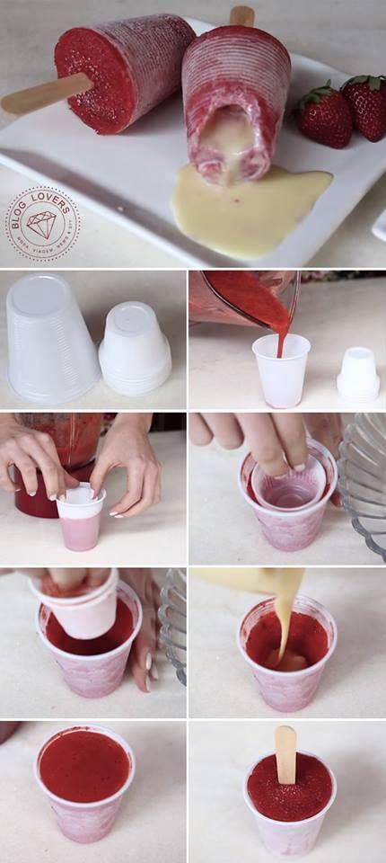 Para fazer o suco de morango você vai precisar de: * 350gr de morango; * 1 colher de sopa de açúcar de confeiteiro; * 1 limão espremido; * 1/2 xic de água. Bata tudo no liquidificador e reserve. dois tamanhos de copos descartáveis (180ml e 50ml). Coloque um pouco de suco no copo maior, e depois faça