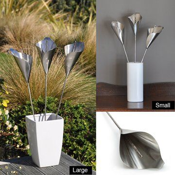 Stainless Steel Arum LiliesComplement your home with these distinctive Arum Lilies. Designed so they can go inside or out. Put them in a vase or arrange them on a wall. Or, stake them into your garden to create a beautiful feature. They also make a unique and thoughtful gift.Each lily is sculpted by hand by artisan metal workers based in beautiful Mapua, top of the South Island, New Zealand. Available in two sizes – Small measures approx 42cm long and Large measures approx. 60cm long.