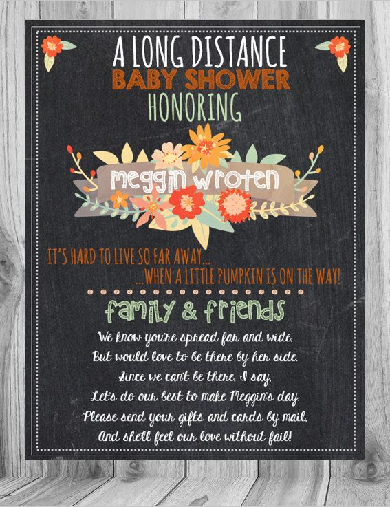 Long Distance Baby Shower, Baby Shower From Afar, Fall Baby Shower Invite,  Fall Baby, Fall Baby Shower, Baby Shower, Chalkboard