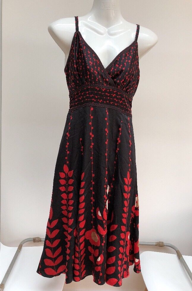 6e3af848a82 Ted Baker Dress Size 1 8-10 Black Red Lined Silk Adjustable Straps  Beautiful  fashion  clothing  shoes  accessories  womensclothing  dresses  (ebay link)
