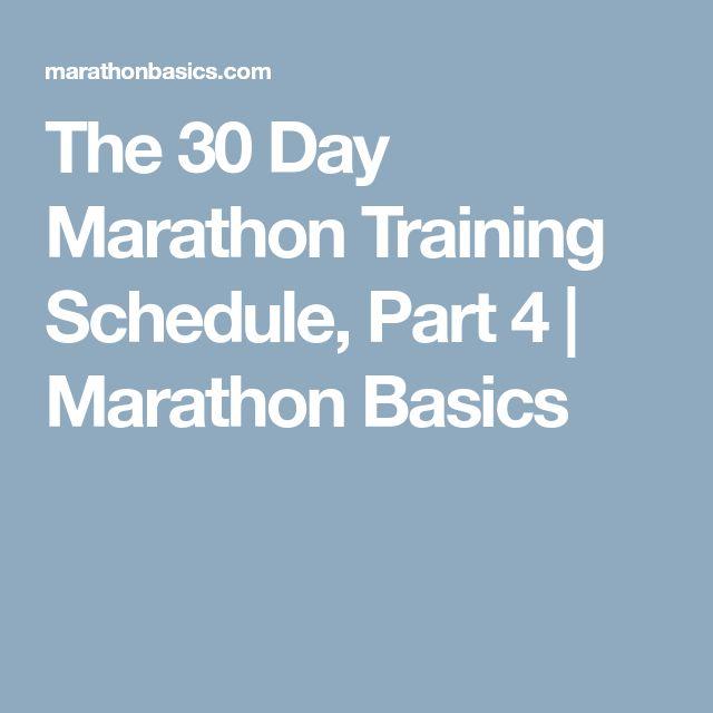 The 30 Day Marathon Training Schedule, Part 4 | Marathon Basics