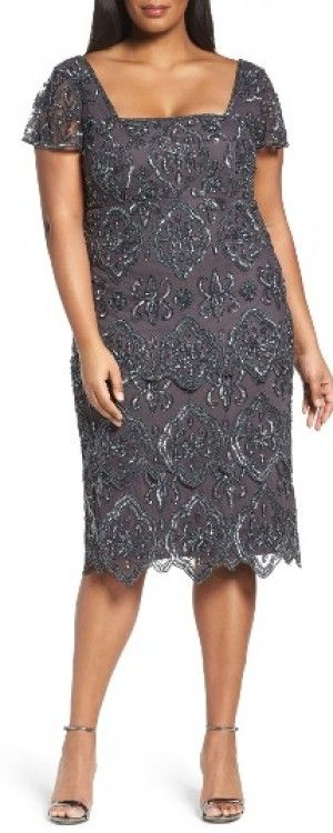 Lavish plus size lace and sequin embellishments cocktail dress will create 1920s look for the mother of the bride.