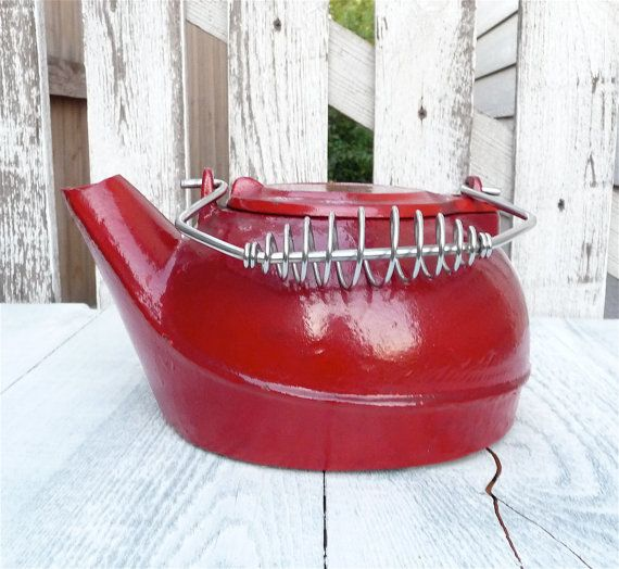 Red Cast Iron Tea Kettle for Wood Stove, Decor or Outdoors - 109 Best FIREPLACE, WOODSTOVE Images On Pinterest Fireplace