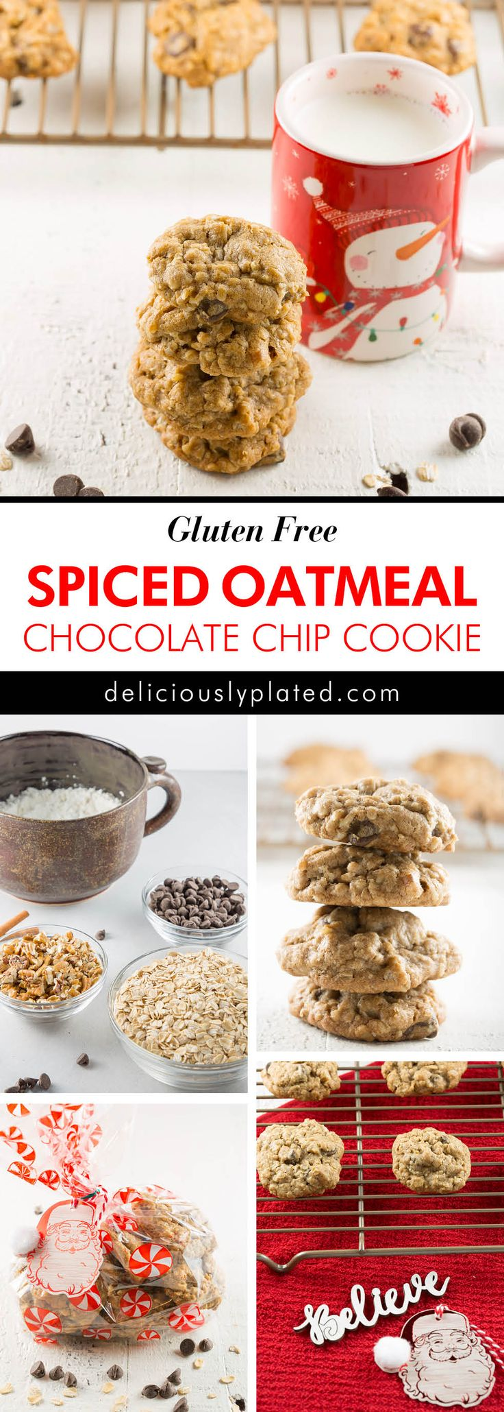 This spiced oatmeal chocolate chip #cookierecipe is amazing!  Every time I make these #cookies they are devoured! #recipe #glutenfree #christmascookie