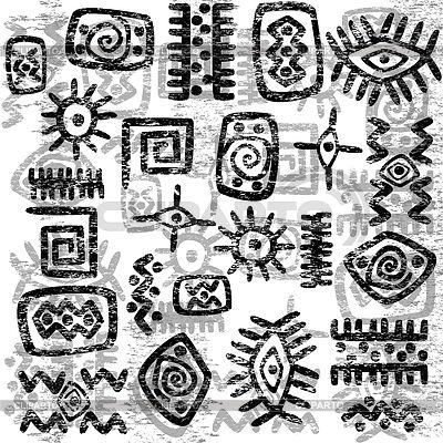 Grunge fondo símbolos africanos | Ilustración vectorial de stock | ID 4490312