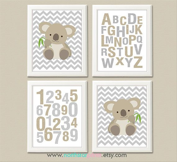 Tan and grey koala nursery art print baby boy/ by NorthStarPrints
