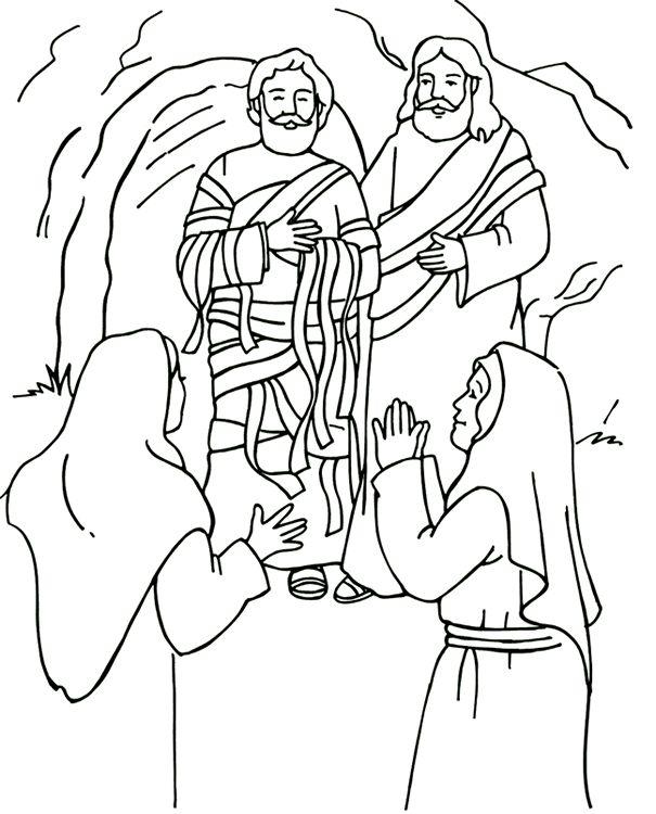 Resurrección de Lázaro Página para colorear