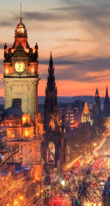 Balmoral Hotel clock tower in Edinburgh, Scotland