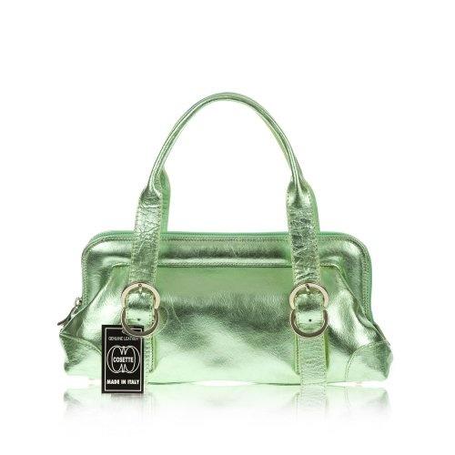 COSETTE Italian Made Green Metallic Leather Small Designer Satchel Bag $249.0