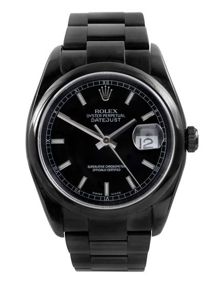 All-black stainless steel rolex datejust...I would love to get this for my hubby. Maybe someday.