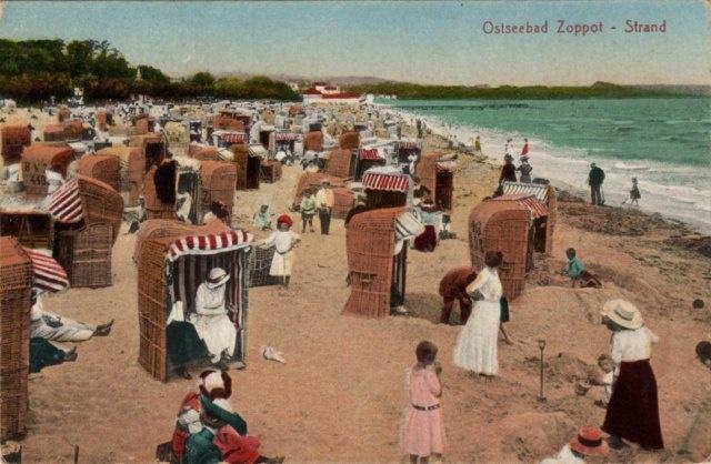 vintage postcard, Ostseebad Strand Zoppot