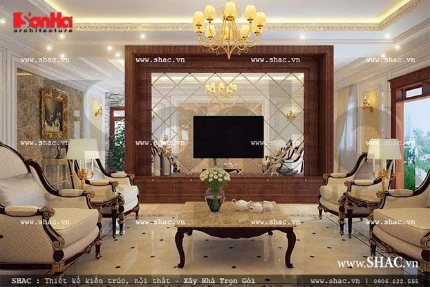 Dưới góc view ngược lại không gian phòng sinh hoạt gia đình tiện nghi, toát lên vẻ đẹp quý phái, lung linh sắc vàng