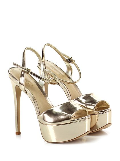 SCHUTZ - Sandalo alto - Donna - Sandalo alto in pelle specchiata con cinturino alla caviglia e suola in cuoio. Tacco 150, platform 45 con battuta 95. - PLATINO - € 190.00