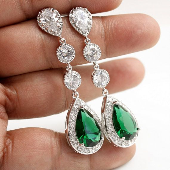 Wedding Jewelry Bridal Earrings Long Wedding Earrings Silver CZ Posts Large Pear Cut Emerald Green Cubic Zirconia Drops